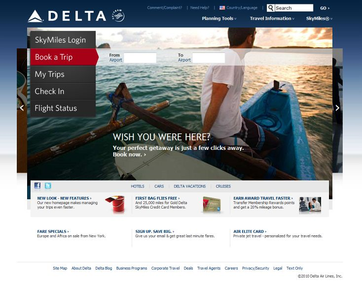 Delta.com Homepage (Redesigned)