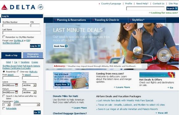 Delta.com Homepage (Old Version)