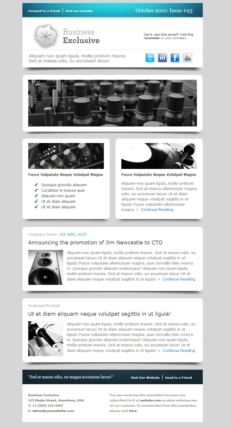 Need a clean modern email design for medical journals for Modern email design